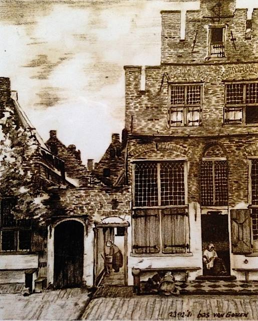 Straatje van Vermeer – study pencil drawing