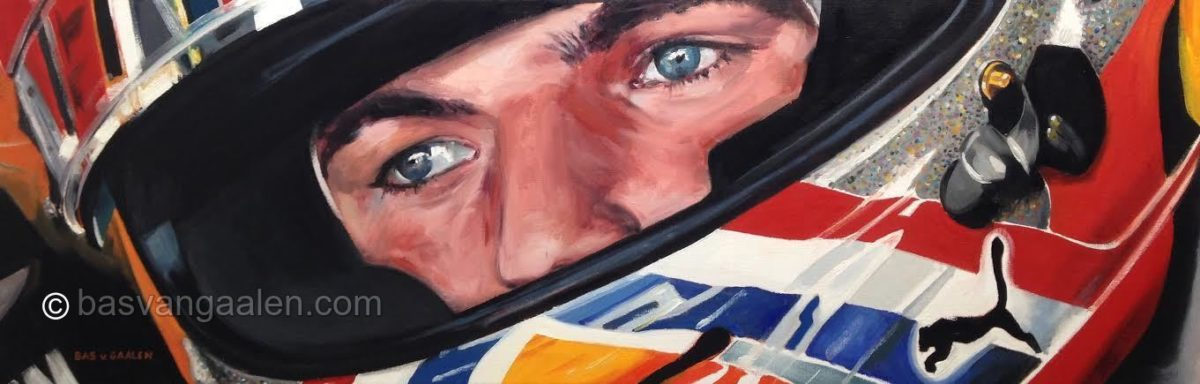 Portrait Max Verstappen Oil on Canvas 120 x 40 cm. basvangaalen.com
